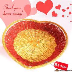 Aluminium Basket/Golden Heart shape tray handmade design. #HomeDecor #DiwaliGift #Tray #Decoration#Classyplus https://goo.gl/jpC2d5