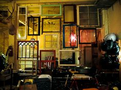 Wall collage from old windows.....  http://dishfunctionaldesigns.blogspot.com/2012/01/reclaimed-windows.html