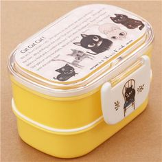 Yellow Cute Cats Bento Box from Japan $16.77 http://thingsfromjapan.net/yellow-cute-cats-bento-box-japan/ #cute bento box #kawaii lunch box #cat bento box