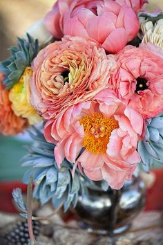 ranunculus, peonies, succulents - the flowers i want for my bouquet, just more coral and less pink My Flower, Fresh Flowers, Beautiful Flowers, Pink Flowers, Pink Peonies, Easter Flowers, Colorful Roses, Turquoise Flowers, Bright Flowers