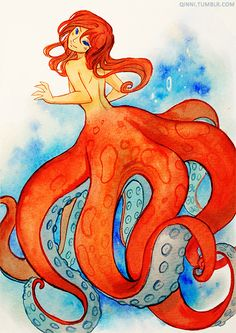 """🐙 Octogirl by Qing """"Qinni"""" Han Octopus Mermaid, Mermaid Art, Magical Creatures, Fantasy Creatures, Monster Girl Encyclopedia, Mermaid Drawings, Mermaids And Mermen, Merfolk, Tentacle"""