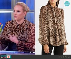 Meghan's leopard print neck tie top on The View Meghan Mccain, Hourglass Fashion, Shirt Dress, Blouse, Fashion Outfits, Tie, Mens Tops, Shirts, Clothes