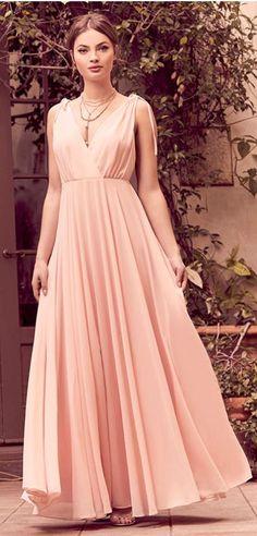 Gorgeous blush evening dress perfect for a wedding, formal, or prom!  Blush maxi dress, prom dress, bridesmaid dress, engagement photos dress #dresses #promdress  #ootd #engagement #wiw #wedding #bridesmaid    affiliate