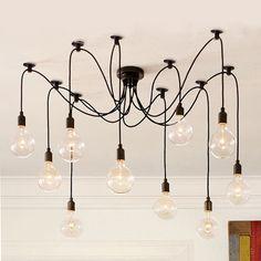 Black 10 head industrial pendant light chandelier  / nostalgic / rustic / minimalist / vintage on Etsy, €128,85