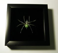 Lovely lime green and silver beaded spider, mounted on black velvet, $30.00 UPDATE: sent to a gift shop in Sedona, AZ called Scorpion on the Porch, to sell.
