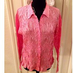 💕Beautiful Silky Pink Crinkled Button Down Top💕 Love this top! New w/I Tags, Never Worn. Delicious pink silky crinkle fabric, 100% Polyester. Button up top w slight bell flaring of sleeve cuff & hem. Very flattering on. Looks amazing under a blazer or by itself. Great for layering. Made by WDNY. I'm pretty sure it was purchased from Nordstrom. Tag says medium but it is more like a comfortable large. The fabric is stretchy & light. Very comfortable. Perfect pink! Tops Button Down Shirts