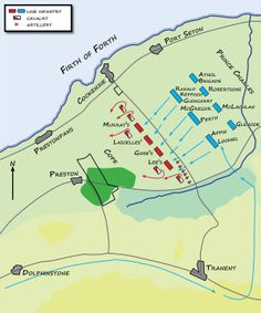 The Battle of Prestonpans was the first significant conflict in the Jacobite Rising of 1745. The battle: 4 am on 21 September 1745. The Jacobite army loyal to James Francis Edward Stuart and led by his son Charles Edward Stuart defeated the English army loyal to George II led by Sir John Cope. The inexperienced government troops were outflanked and broke in the face of a highland charge. The victory was a huge morale boost for the Jacobites. (Wiki)