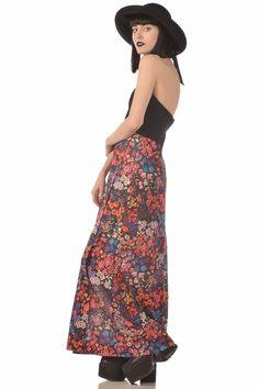 Secret Garden 70s Black   Jeweltone Floral Halter Maxi Dress w High Slit
