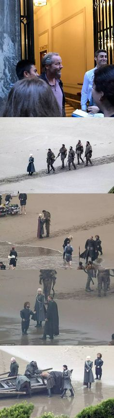 The filming of GoT, season 7: Iain Glen, Emilia Clarke, Peter Dinklage, Kit Harington, Liam Cunningham and extras on set