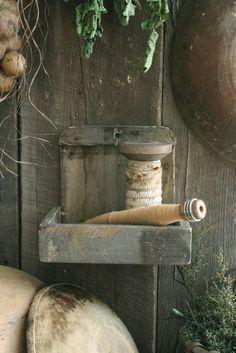 Primitive Early Homestead Look Make do Wall Box Cubby Shelf w Spool Bobbin | eBay