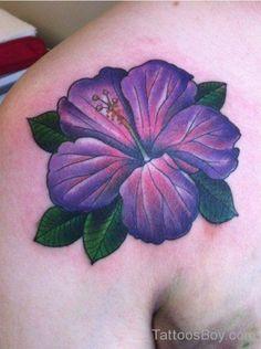 Blue-Purple Hibiscus Tattoo