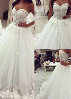 Wonderful Tulle Sweetheart Neckline A-line Wedding Dresses With Lace Appliques