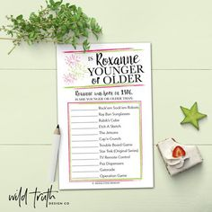 Personalized Birthday Party Game For Adults - Younger Or Older Printable - Wild Truth Design Co Birthday Games For Adults, Adult Party Games, Adult Games, 70th Birthday Parties, Adult Birthday Party, Women Birthday, 65th Birthday, Birthday Wishes, Birthday Gifts