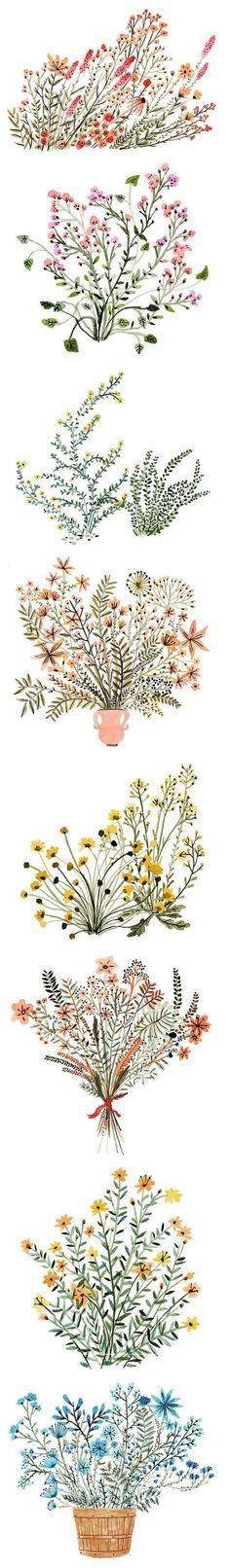 Dainty watercolor flowers, by Vikki Chu #art #journal Floral illustration design