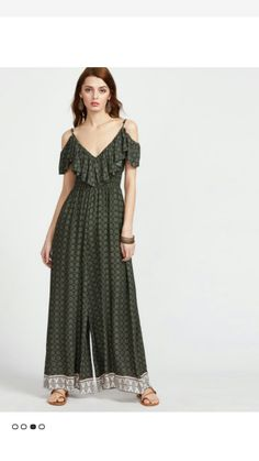 4a3b1b7e99b SheIn offers Ornate Print Cold Shoulder Frilled Culotte Jumpsuit   more to  fit your fashionable needs.