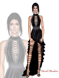 Kendall Jenner wearing a black Kristian Aadnevik dress. Drawing by David Mandeiro Illustrations