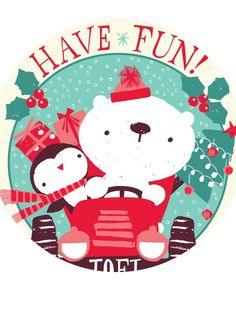 Have Fun! Christmas penguin and snowman