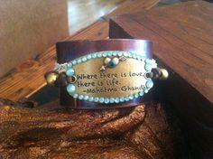 Mahatma Ghandhi Quote Copper Cuff Bracelet by Treatsmadewithlove, $40.00