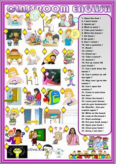 Classroom English: matching                                                                                                                                                     Mais
