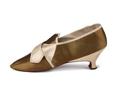 Shoe-Icons / Shoes / Olive color satin buckle shoes with medium hight Italian faceted heels.