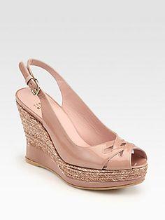 "Stuart Weitzman Dolunch Patent Leather Espadrille Wedge Pumps. 3 3/4 heel, feels like 2 1/2"" (Saks)"