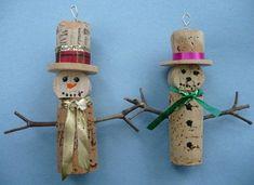 Pair of Wine Bottle Cork Christmas Tree Ornaments by lulin - . Wine Craft, Wine Cork Crafts, Wine Bottle Crafts, Snowman Crafts, Christmas Projects, Holiday Crafts, Wine Cork Ornaments, Diy Christmas Ornaments, Angel Ornaments
