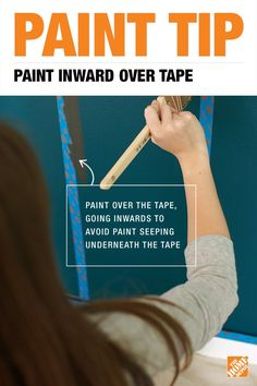 Paint Tip: To prevent paint from seeping underneath the painter's tape as you edge and trim, try painting over it going inward. This expert advice will save time and give you a better finished product in whatever room you're painting. Click through for more DIY tips.