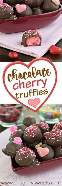 "These sweet Chocolate Covered Cherry Truffles are the perfect way to say ""I love…"