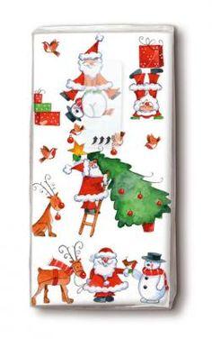 bedruckte Taschentücher der Weihnachtsmann hat viel zu tun - Servietten Versand Tischdeko Kerzen OnlineShop Shops, Paper Design, Advent Calendar, Holiday Decor, Cards, Home Decor, Santa Clause, Dinner Napkins, Candles