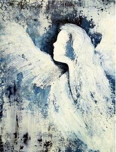 Peinture d'ange je trouverai encore plus beau peint à l'huile et au couteau