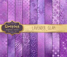 Lavender Glam Digital Paper purple glitter by OriginsDigitalCurio