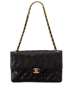 CHANEL CHANEL BLACK QUILTED LAMBSKIN LEATHER SMALL DOUBLE FLAP BAG. #chanel #bags #leather #
