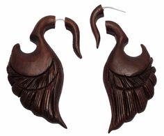 A Pair of Brown Natural Wood USA African Tribal Dangler Wooden Earrings EAR1242 #krishnagemsnjewels #DropDangle