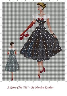 0 point de croix femme retro robe noire à pois blancs - cross stitch retro lady in white polka dots black dress