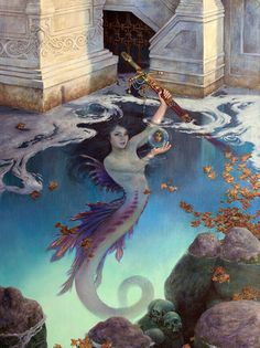 Artwork - The Blue Abyss - was created by Richard Hescox. Mythical Creatures Art, Mythological Creatures, Magical Creatures, Fantasy Creatures, Fantasy Mermaids, Mermaids And Mermen, Real Mermaids, Mermaid Artwork, Mermaid Paintings