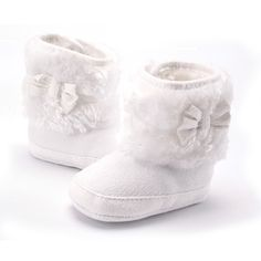 2017 Knitting Hand-made Bowknot Fleece Snow Boots For Baby Girl Boy Anti-silp Prewalker Booties Baby Shoes 0-18 Months ($2.67)