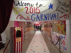 Homecoming week hallway decorations. Carnival circus theme
