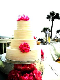 Wild Dunes Resort Real Weddings// Beautiful cake and a gorgeous view!