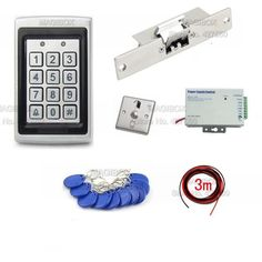 178.00$  Buy here - http://alidzw.worldwells.pw/go.php?t=32626064912 - ACSS24 Waterproof RFID ID Card Reader Access Control System Kit W/ Strike Door Lock 178.00$