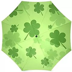 St.Patrick's Day Gift Irish Shamrock Pattern Compact Foldable Rainproof Windproof Travel Umbrella