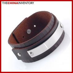 BROWN LEATHER STAINLESS STEEL BANGLE BRACELET B1701B