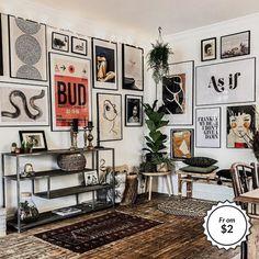 Cheap Home Decor, Diy Home Decor, Cheap Wall Decor, Art Decor, Eclectic Gallery Wall, Gallery Wall Art, Gallery Walls, Living Room Decor, Bedroom Decor