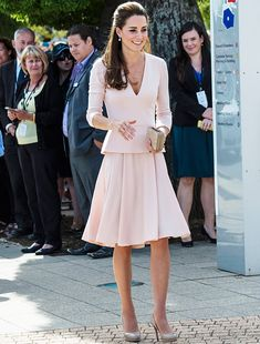 Will & Kate visit South Australia. Kate wore pale pink separates by Alexander McQueen, her trusty LK Bennett Sledge heels, a Natalie clutch by LK Bennett, her Cartier wristwatch, Asprey London charms necklace and Annoushka pearl drop earrings. - 4/23/2014