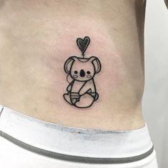 Black Ink Koala Tattoo by Tattooer Hugo