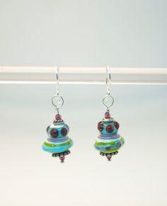 Pincel de Fuego  1 pair 3cm dangle lampwork glass earrings (red, blue, purple, green) - UFO