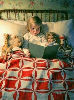 "Old children's book illustration.""Story Time "" by Kathy Lawrence. Reading Art, Kids Reading, Bedtime Reading, Reading Books, Photo Canvas, Children's Book Illustration, I Love Books, Story Time, Vintage Children"