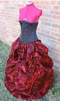 Taffeta Steampunk Victorian Damask Bustle Pick-up Skirt Red, Silver, Teal, or Purple Custom Made to Order on Etsy, $105.00