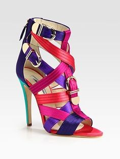 Brian Atwood Strappy Multicolored Satin Buckle Sandals - Click for More...