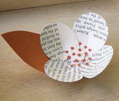 1 Vintage Book Page Flower -Boutonniere Idea -Paper Flower -Wedding Decoration -Orange Wedding -DIY Wedding Accessory -Fall Weddings