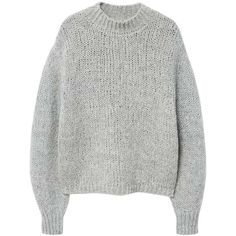High Collar Wool Sweater (£35) ❤ liked on Polyvore featuring tops, sweaters, jumpers, oversized jumper, oversized wool sweater, oversized cable knit sweater, cable jumper and wool jumper